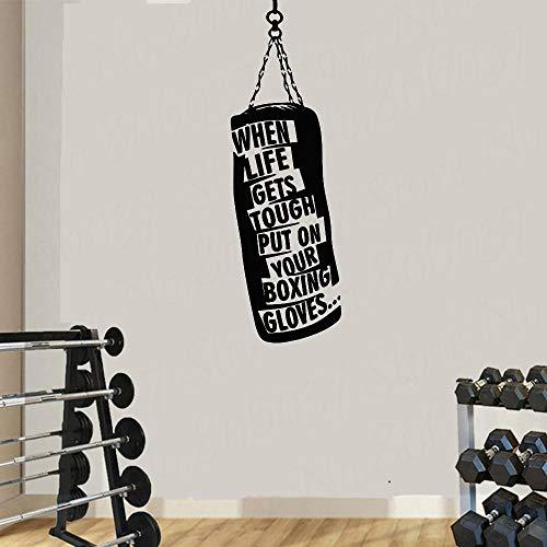 Fitness muur stickers wanneer het leven krijgt. Bokszak handschoenen boksen motiverende Gym Hobby citaat Vinyl Stickers DIY Art Decor 57X106CM