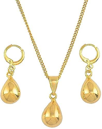 Collar Collar Collar Collar Gotas de agua pequeñas Conjuntos de joyas Collares colgantes de color dorado Conjunto de pendientes para mujeres Niñas Regalos árabes Collar Longitud 60Cm Neklace para muje