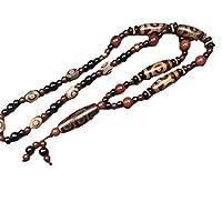 ZHIBO tibetischer natürlicher Achat Dzi Halskette für Herren und Damen