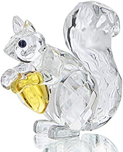 H&D HYALINE & DORA Figura coleccionable de cristal con diseño de ardilla de animales de cristal