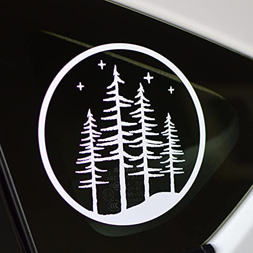 Pine Tree Forest Decal | Fir Trees Night Sky Car or Truck Window Sticker 5' White Vinyl Exterior Automotive Graphic
