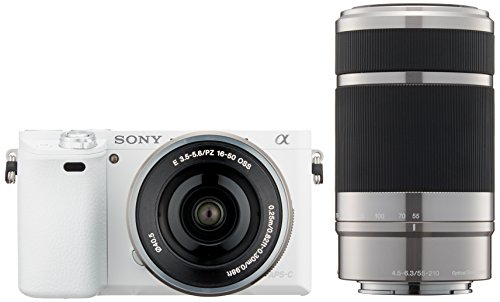 Sony ILCE-6000Y W - Objetivo Doble (monofásico, α6000, E PZ 16-50 mm, F3.5-5.6 OSS + E 55-210 mm, F4.5-6.3 OSS), Color Blanco