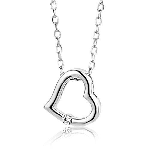 Miore Damen Weißgold Diamant Halskette und Herz Anhänger 9KT (375) mit Brillant von 45 cm Goldkette