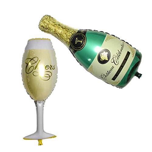 DJYJD Decoración Decoración de la Botella de champán Copa Cerveza Papel de Aluminio Partido Balón de cumpleaños de la Boda Impulso del Partido Globos de Helio