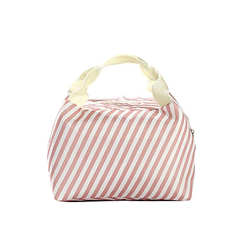 SEWORLD Cute Love Heart Lunch-Tüte, Lunch-Paket, Lunch-Box Thermal Isolierte kalte Praktisch Segeltuchstreifen-Picknick-Tragetasche thermische tragbare Lunchpaket Rosa