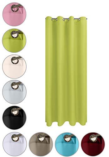 wometo Vorhang mit 8 rostfreien Metall Ösen Blickdicht 140x245 cm Türvorhang Ösenvorhang - grün apfelgrün