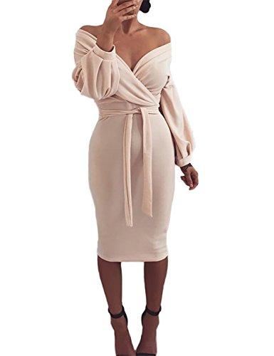 Ninimour Womens Off Shoulder Twisted Waist Tie Sexy Midi Dress XL Nude