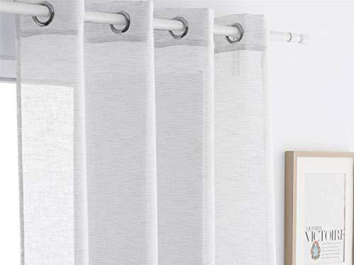 Antilo - Cortina confeccionada con ollaos Noelia 300x260 cm - Color Blanco