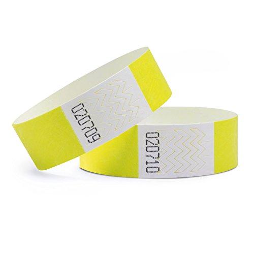 linie zwo®, Lot de 100 Bracelets d'identification Tyvek® 19 mm, Jaune néon