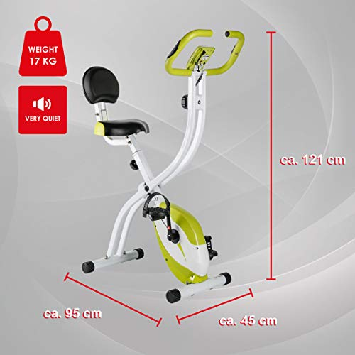 Ultrasport F-Bike Home Trainer 200B with Hand Pulse Sensors, with Backrest, Foldable, Green