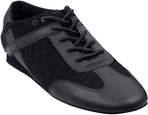 Men's Ballroom Latin Salsa Sneaker Dance Shoes Leather Black SERO106BBXEB Comfortable - Very Fine 10 M US [Bundle of 5]