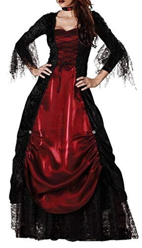 Victorian Vampire Costume: Red Vampiress Halloween Fancy Dress (L)