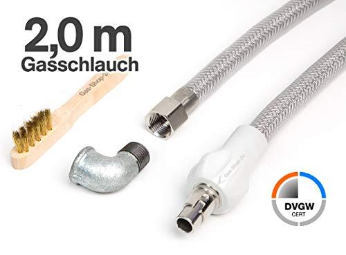 2 m Edelstahlschlauch/Edelstahl Gasschlauch + Winkel f. Gasanschluss + Reinigungsbürste (geeignet für Flüssig- / Erdgas) - f. Gasherd, Gaskocher, Gaskochmulde Kocher Gas Steckschlauch Gassteckdose