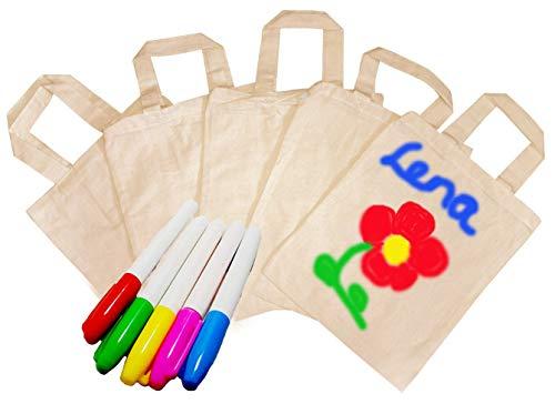 5x Tragetaschen, natur, zum selbst gestalten + 1 Packung a 8 Textilmalstifte, auch als Mitgebseltüten zum Kindergeburtstag