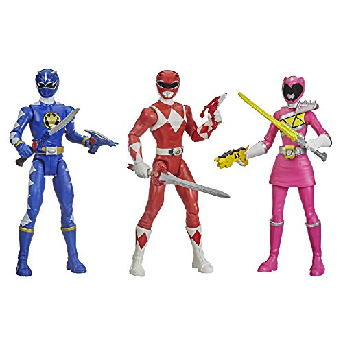 Power Rangers Beast Morphers Special Episode 3-Pack Action Figure Toys Dino Thunder Blue Ranger, Mighty Morphin Red Ranger, Dino Charge Pink Ranger (Amazon Exclusive)