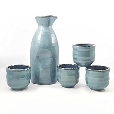 Happy Sales HSSS-BLU03,  5 piece Ceramic Sake set - Grey Blue