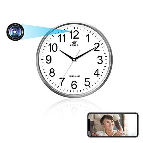 Cámara espía WiFi, reloj cámara oculta 1080P HD con lente invisible, cámara de seguridad Nanny Cam con detección de movimiento y mando a distancia – Batería recargable de 2000 mAh