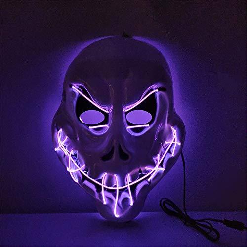 Máscara de Halloween LED de miedo, máscara iluminada, para disfraz, fiesta de cosplay, fiesta intermitente resplandor en la oscuridad, máscara de miedo (9 colores se pueden seleccionar), C