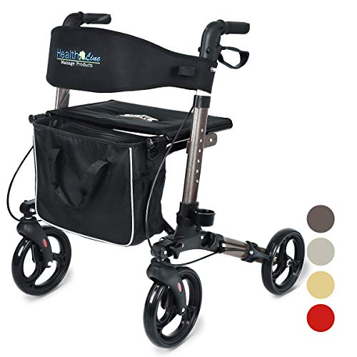 "Health Line Massage Products Compact Rollator for Seniors, Euro Style Folding Walker with Seat and Backrest, 8"" Wheels, 3 Colors Available (Titanium)"
