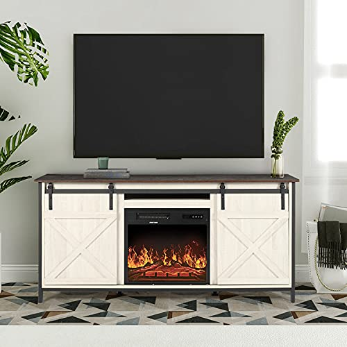 AILEEKISS Farmhouse Barn Door Fireplace TV Stand for TVs Up to 65