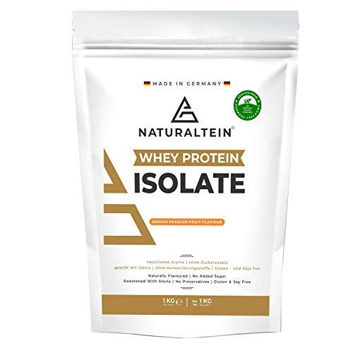Naturaltein Whey Protein Isolate Eiweißpulver Muskelaufbau I Premium Natural Protein Powder Ohne Zusatzstoffe I hochwertiges Whey Isolate ohne Gentechnik I natürlicher Geschmack (Mango-Maracuja)