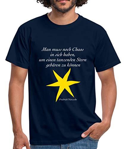Nietzsche Zitat Tanzender Stern Männer T-Shirt, XXL, Navy