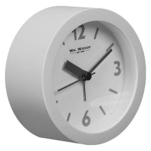 Widdop Round Grey Beep Alarm Clock with Quartz Silent Sweep No Ticking...