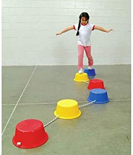 School Smart Stepping Buckets Balance Builders - 5 x 12 inch - Set of 6 - 2 Each of 3 Primary Colors (Renewed)