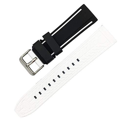 BAAIFC Correa de silicona suave para reloj deportivo de 20 mm, 22 mm, 24 mm, 26 mm, goma, impermeable, para hombres, correa de repuesto (color de la correa: negro, blanco, ancho de la correa: 20 mm)