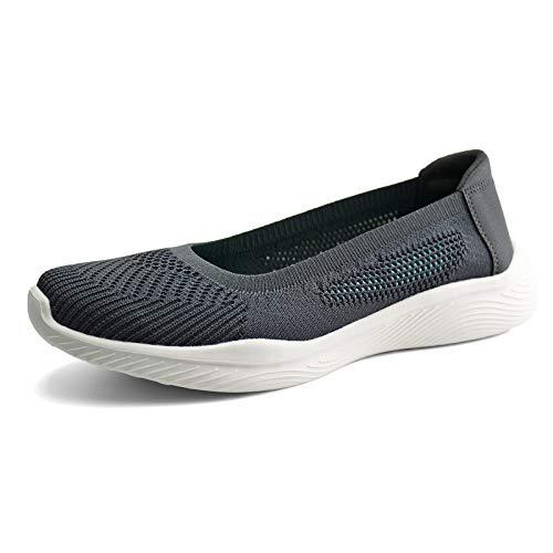 JABASIC Women Slip On Knit Loafers Comfortable Walking Flat Shoes (10,Grey)