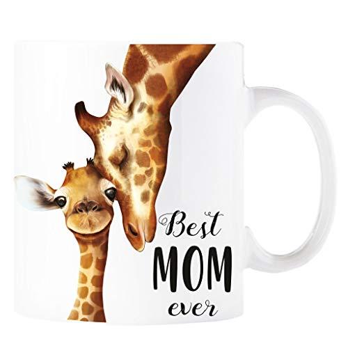 Wandtattoo Loft Geschenk Tasse Kaffeebecher Becher Bedruckt mit Spruch Best Mom Ever Giraffe / 2. Tasse Glanz (Keramik)