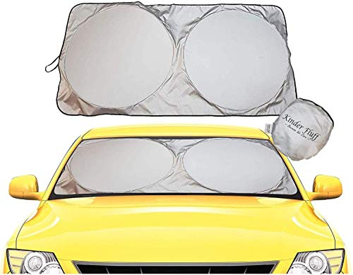 Kinder Fluff Windshield Sun Shade-The only Certified Foldable Sunshade for car Windshield to Block 99.87 % UVR Keeping Your Vehicle Cooler -Windshield Sunshade (Large)