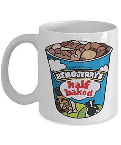 Ben and Jerrys Half Baked Coffee Mug Cup (White) 11oz Ben and Jerrys Half Baked Ice Cream Gifts Merchandise Accessories Shirt Poster Sticker Pin Vinyl