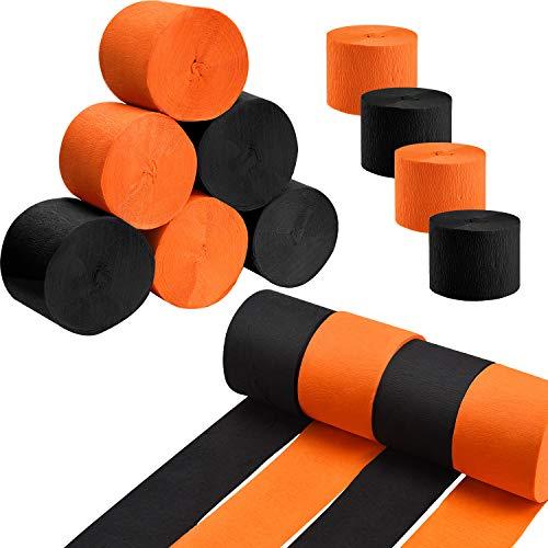 951 Fuß Total Halloween Krepppapier Luftschlangen Schwarz und Orange Krepp Papier Rolle für Halloween Party Dekorationen, 2 Größen