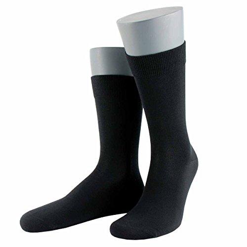 Wilox Herren feuchtigkeitsregulierende und atmungsaktive Socke aus Merino Wolle und Lyocell Tencel® Strick EXCLUSIVE MERINO/TENCEL10467-schwarz-43-46
