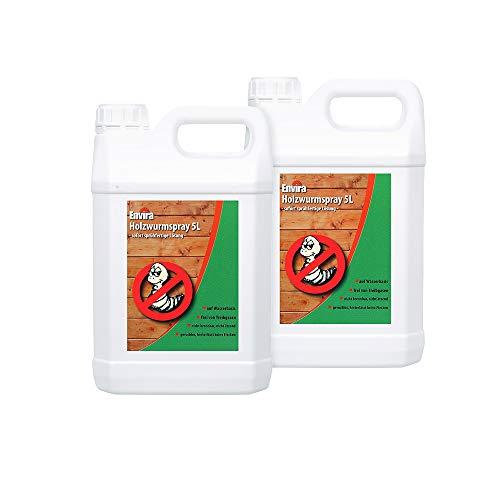 Envira Holzwurm-Spray - Holzwurm Ex Gegen Holzschädigende Insekten Mit Langzeitschutz - Auf Wasserbasis - 2x5Ltr
