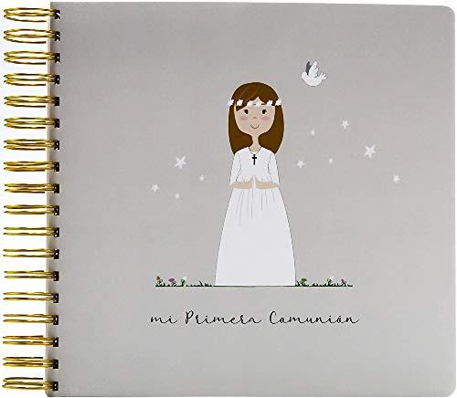 SUSIKO | Álbum Primera Comunión Niña | Medidas 24 x 23 x 3,4 cm | Peso 560 gr | Diseñado con Amor en España | Color Gris Cálido | Packaging en Bolsa de Celofán