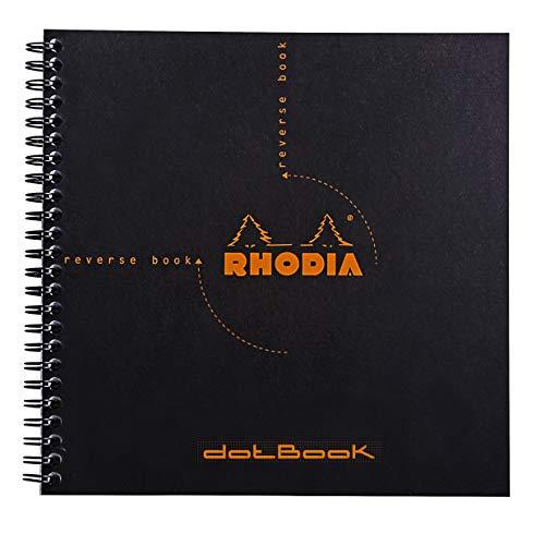 Rhodia 193639C Reverse Book (Dot Grid, quadratisch, ideal für Ihre Notizen, 21 x 21 cm, 80 Blat) 1 Stück schwarz