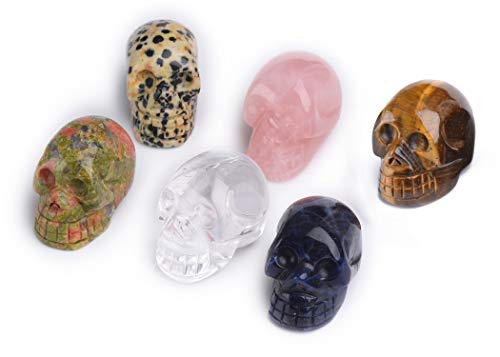 AMOYSTONE 4Pcs Mini Human Skull Statue Figurines Mix Natural Healing Crystals Stones Crafts 1.5'