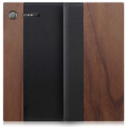 LOOF Nature Xperia XZ1 / SO-01K / SOV36 ケース 手帳型 カバー 天然木 本革 ウッド 手帳型ケース 手帳型カバー 携帯ケース 携帯カバー スマホケース スマホカバー ベルト無し 木製 スタンド機能付き カード収納 カ