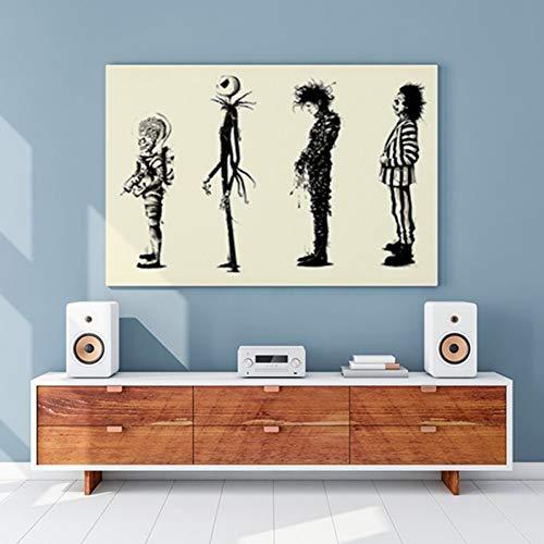 TBWPTS Wandmalerei Leinwand Gemälde Hause Decr Malerei Tim Burton Film Beetlejuice Edward Scissorhands Hd Movie Poster Drucken Poster Wand Kunst Bilder