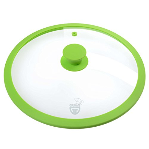 GRÄWE Couvercle en verre avec bord en silicone vert ou rouge nouvelle génération, vert, 30 cm