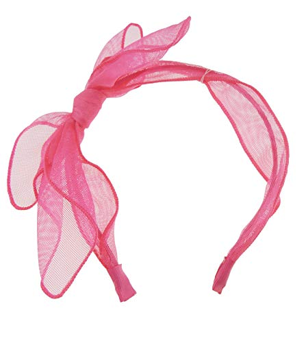 Dames Elegante Zomer Chiffon Netting Bow Dunne Hoofdband Alice Band Eén maat Roze