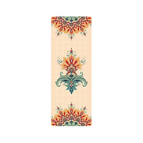 N / A Esteras de Yoga de Goma Natural Mantas de Pilates Plegables portátiles para Mujer Impresión de Gamuza Yoga Profesional Antideslizante 183 * 63 cm