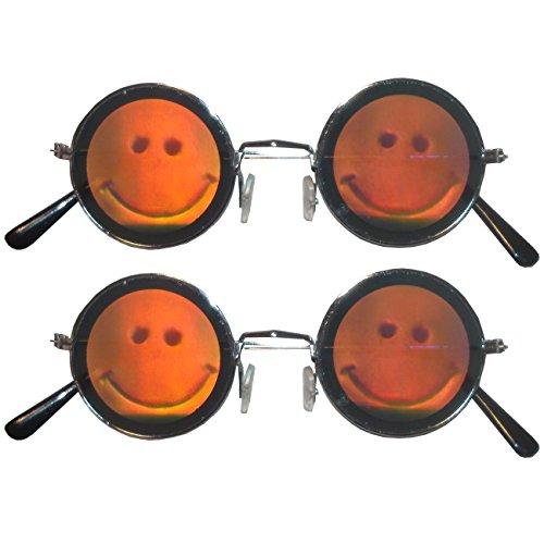 Spassprofi 2 x Hologrammbrille Smiley Brille 3D Augenbrille Funbrille Augen Komplettbrille