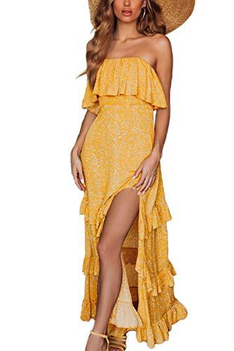 Yidarton Vestido de verano para mujer, sin tirantes, estilo bohemio, maxi largo, sin mangas, para cóctel o playa D-blanco. L