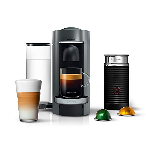 Nespresso VertuoPlus Deluxe Coffee and Espresso Machine Bundle with Aeroccino Milk Frother by De