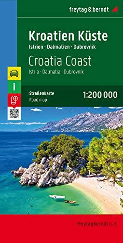 Kroatien Küste, Istrien - Dalmatien - Dubrovnik, Autokarte 1:200.000 (freytag & berndt Auto + Freizeitkarten)