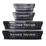 BTSDLXX 4Pcs Coche Acero Inoxidable Externo Barra Umbral Puerta, para Range Rover Sport 2014-2019 Bienvenido Patada Pedal Door Sill Desgaste, Pegatinas Tiras Proteccion Accesorios,Black