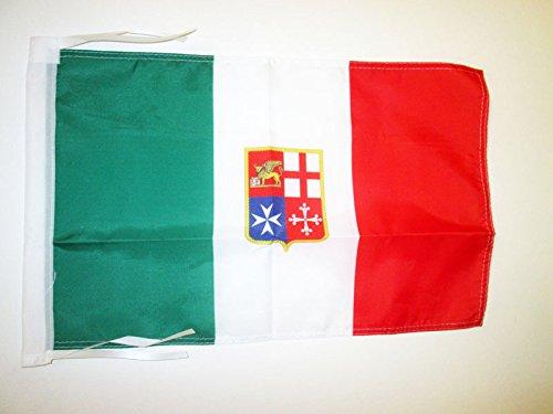 AZ FLAG Bandiera Marina MERCANTILE Italiana 45x30cm - BANDIERINA NAVALE d'Italia 30 x 45 cm cordicelle
